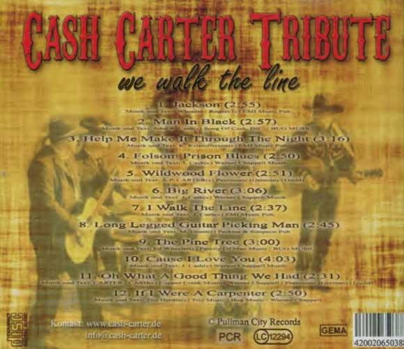 Johnny Cash Experience, Rückseite des Covers von we walk the line