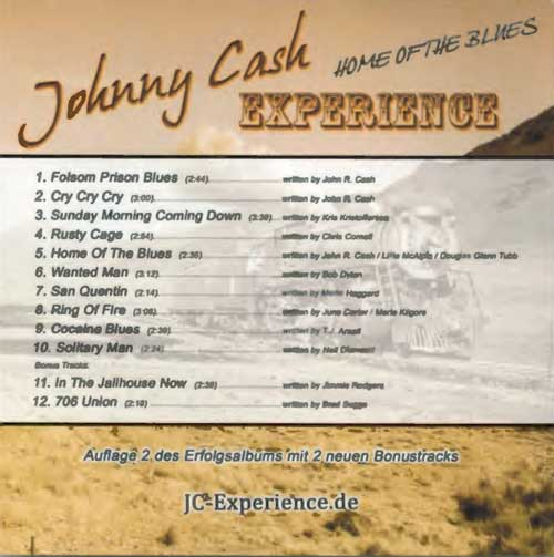 Johnny Cash Experience, Rückseite des Covers von Home of the blues
